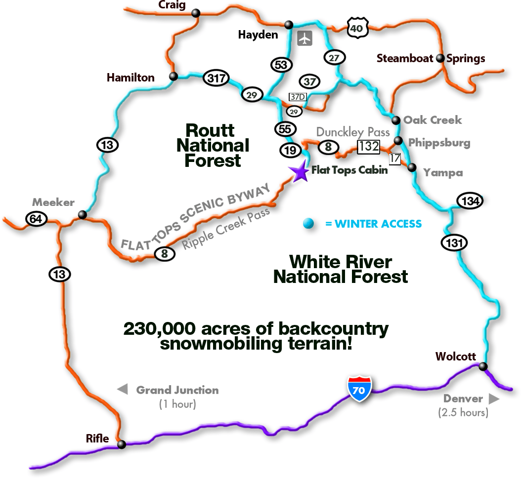 Nw Colorado Map.Secluded Ride In Out Snowmobiling Cabin In Nw Colorado